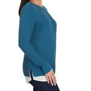 NWT Hilary Ridley Heather Blue 2fer Sweater